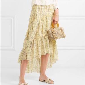 Marilyn asymmetric Ruffle  floral-print silk skirt